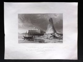 G. N. Wright 1840 Antique Print. Burj-Er-Roos, or the Tower of Skulls, Tunisia
